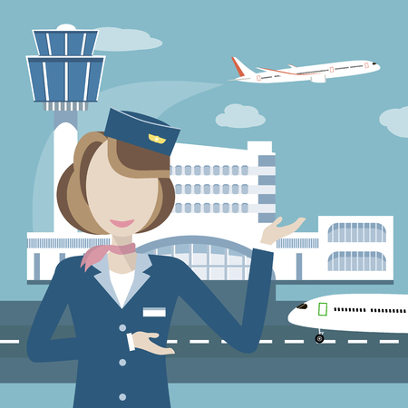 aeronautics: Woman smiling stewardess on the background of airport and aircraft. Vector illustration flat design. Travel concept