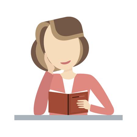 Junge Frau, ein offenes Buch zu lesen und lächelnd. Vektor-Illustration flaches Design