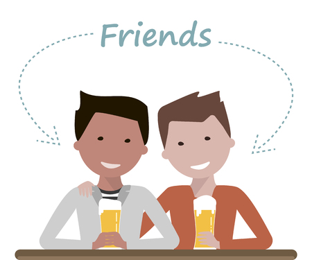 Two man friends drinking beer talking and laughing. Friendship Day concept. Vector illustration flat design