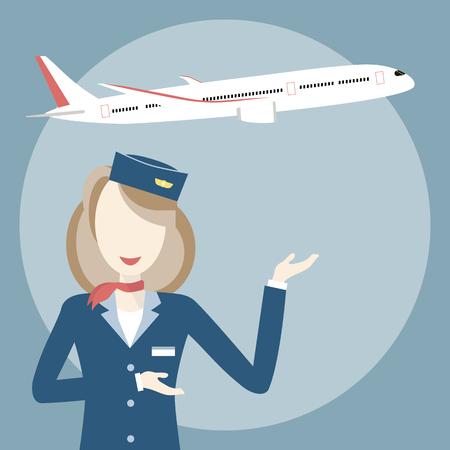 aerodrome: Woman smiling stewardess on the background of airplane. Vector illustration flat design. Travel concept Illustration