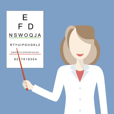 ophthalmologist: Optometrist examines a patient using a table for testing visual acuity. Doctor woman ophthalmologist smiling. Medicine and eye health concept. Vector illustration flat design
