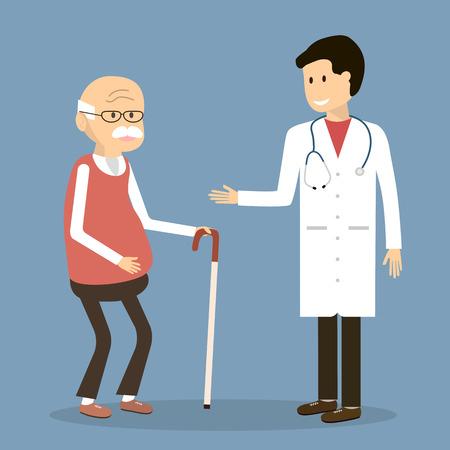 doctor visit: Old man visit a family doctor.