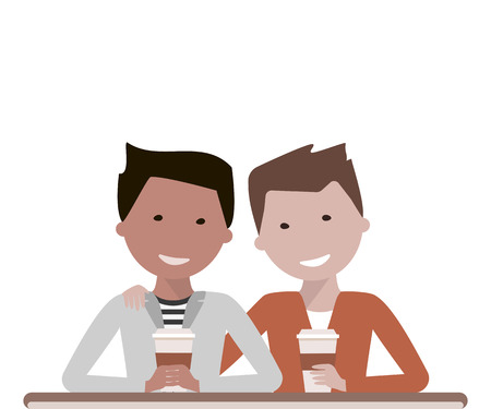 friends laughing: Two man friends drinking coffee or tea in a cafe talking and laughing. Friendship Day concept.