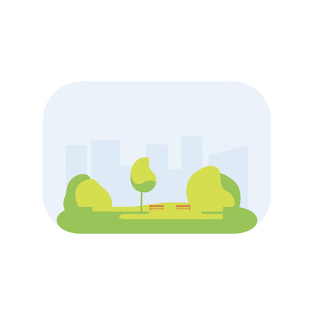 park icon: City park icon with a lawn, trees, lush grass with a wooden bench on the background of the city. illustration flat design. Urban landscape