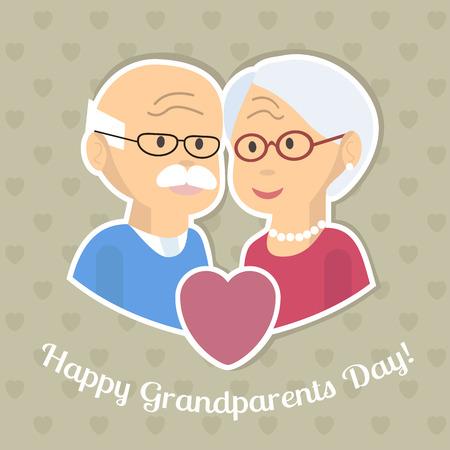 personas abrazadas: Senior pareja de enamorados. Viejo hombre y una mujer abrazados. Celebración de las personas de edad avanzada. Los abuelos tarjeta del día o un cartel. El diseño plano de la ilustración