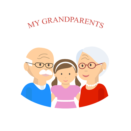 Grandparents family with grandchild. An elderly couple hugging her granddaughter. Old man and woman with little girl. illustration flat design