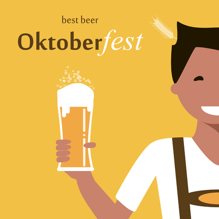 Happy young man with a glass of beer. Oktoberfest poster. illustration flat design