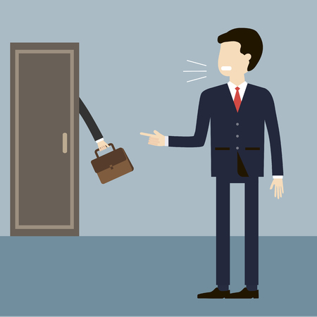 dismiss: Illustration employee layoffs. Angry boss shouting on the dismissal of a manager and a finger points to the door. Unemployment, crisis, jobless and fired concept. Vector flat design. Illustration