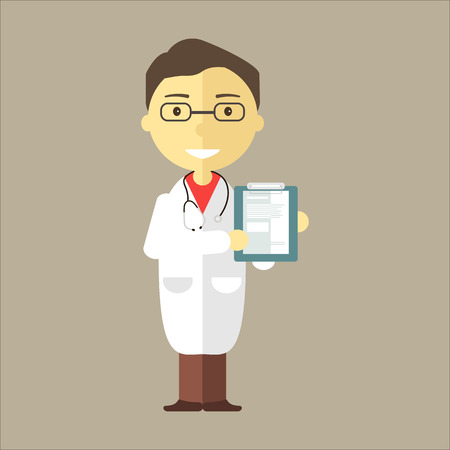 general practitioner: Doctor man with stethoscope holding medical notepad. Vector illustration flat style.
