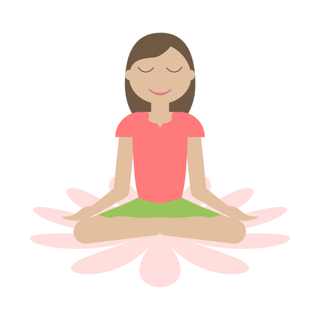 Girl sitting in yoga lotus position isolated. Women wellness concept. Meditation icon. Vector illustration flat design