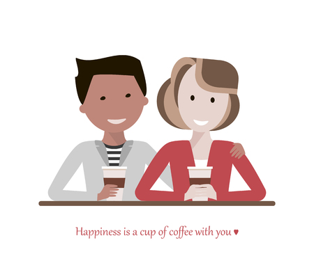 woman drinking coffee: Couple man and woman drinking coffee in a cafe talking and smiling. Love and date concept. Image with the phrase - Happiness is a cup of coffee with you. Vector illustration flat design Illustration