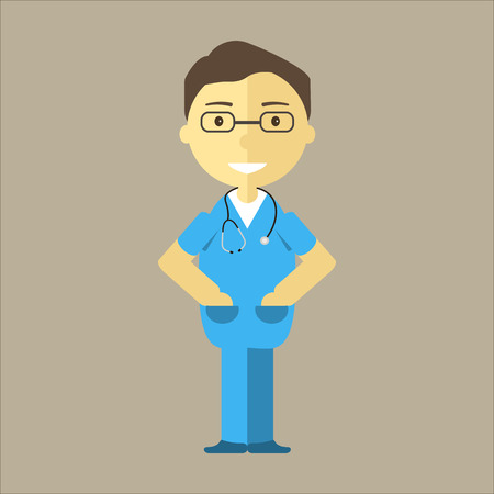 hospital staff: Male nurse with stethoscope. Medical student man character or working hospital staff. Vector illustration flat design