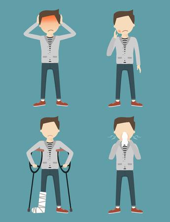 pierna rota: Set con el enfermo. Dolor de cabeza, dolor de muelas, pierna rota, alergia o secreción nasal. ilustración vectorial diseño plano Vectores