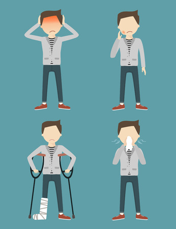Set with sick man. Headache, toothache, broken leg, allergy or runny nose. Vector illustration flat design Illustration