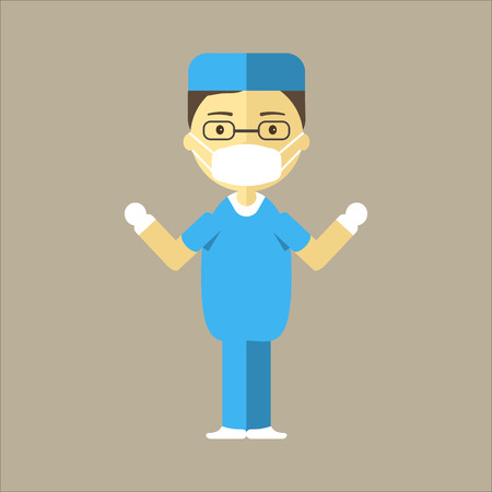 podiatrist: Male surgeon ready for surgery. Man doctor in uniform, mask and sterile gloves. Clinic of plastic surgery concept. Vector illustration flat design.