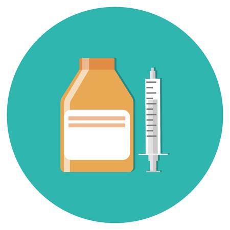 Pil fles en spuit voor het nemen van het medicijn via de mond oraal voor de behandeling van infecties. Medicijnen en drugs icoon. concept van de gezondheidszorg. illustratie plat ontwerp