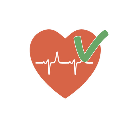 pacemaker: Heartbeat OK icon. The rhythm of a healthy heart. illustration flat design Illustration