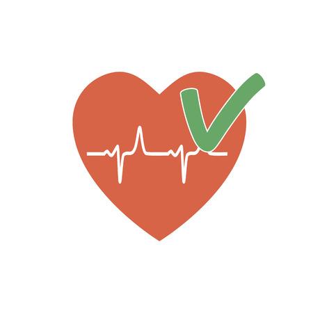 systole: Heartbeat OK icon. The rhythm of a healthy heart. illustration flat design Illustration