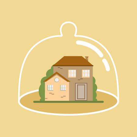 Casa bajo protección. El concepto de seguro y la seguridad de la propiedad. El diseño plano de la ilustración