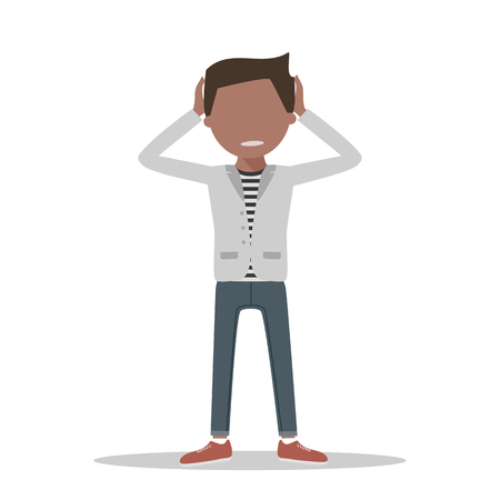 tired person: Anxious and sad young man clutching head his hands. flat style illustration isolated. Headache pain. Worried, depression sign. Loser. Tired, upset person.