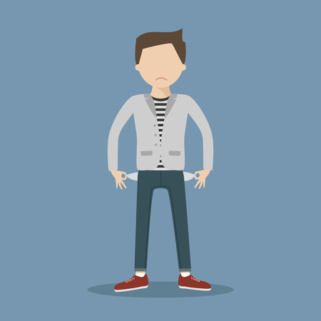 No money concept. Sad young man showing empty pockets. illustration flat design