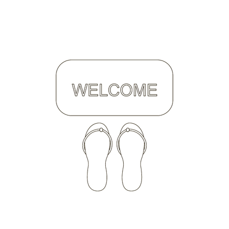 front porch: Door mat icon. Welcome carpet with shoose sandals. Hospitality sign. illustration