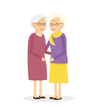 Illustration happy senior women friends. Old people walking together. Flat characters happy retired elderly senior age social concept. illustration