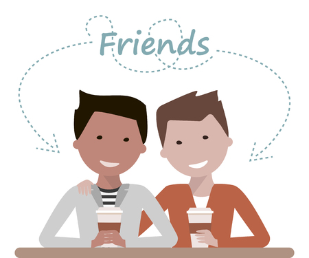 friends laughing: Two male friends drinking coffee or tea in a cafe talking and laughing. Friendship Day concept. illustration flat design