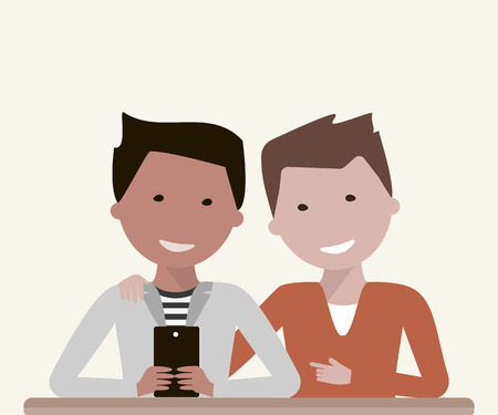 friends laughing: Two young man friends are watching in smartphone or tablet, laughing and talking. Friendship Day concept. illustration flat design Illustration