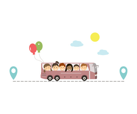 A group of kids traveling by bus. Family and childrens tourism concept. Rest of children in the countryside. Route icon. illustration flat design