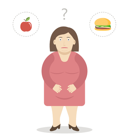 Fat woman makes a choice between an apple and a cheeseburger. Weight loss and healthy food concept. illustration flat design