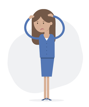 Anxious and sad business woman clutching head his hands. Vector flat style illustration isolated. Headache pain. Worried, depression sign. Loser. Tired, upset person.