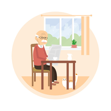 Senior sitting on a chair and reading a newspaper. Old man drinks tea with milk. White cat under the table. Happy life of older people concept. Vector illustration flat design