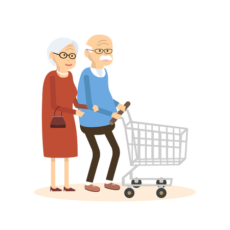 Old man and woman with shopping cart. Elderly people people purchased goods. illustration flat design Illustration
