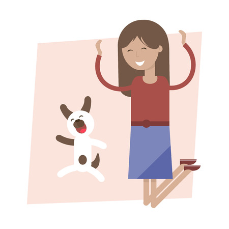joy of life: Cheerful girl and dog jumping for joy. illustration flat design. Enjoy your life concept. Illustration