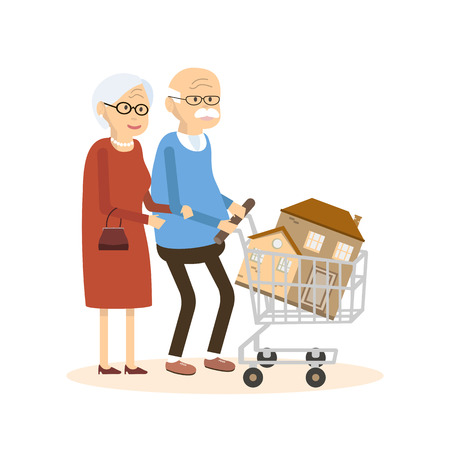 buying a home: Seniors couple buying a home. Old man and woman with shopping cart and house. Real estate concept. illustration flat design Illustration
