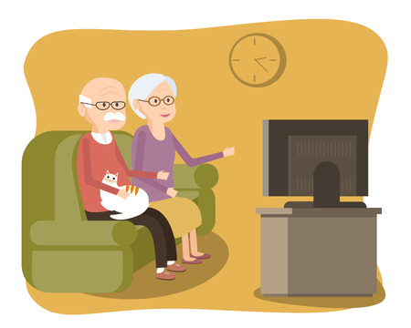 Elderly couple sitting on the sofa and watching TV. Old people lifestyle. Senior man and woman with a cat spend time together. illustration flat design character Vectores