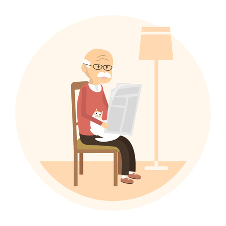 Old man character with a cat. Senior sitting on a chair and reading a newspaper. illustration flat design
