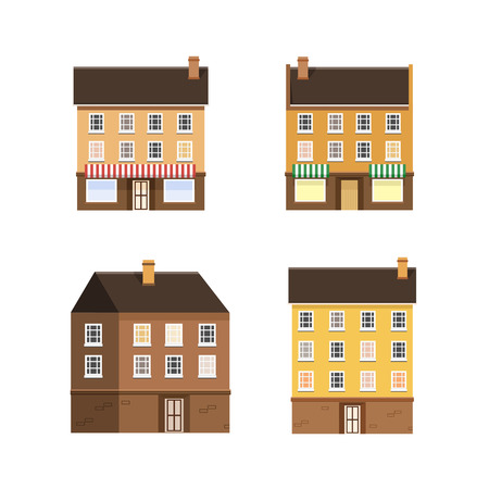 clouds scape: Set of the houses of a small town. illustration flat design