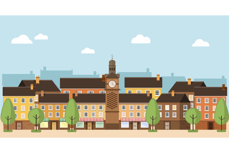 small town: A small town with houses, trees, street, town clock.  Urban landscape. illustration flat design