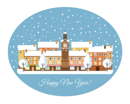 greet card: Happy New Year Winter town snowy street. Urban winter landscape. Christmas card Happy Holidays banner. Vector illustration flat design.