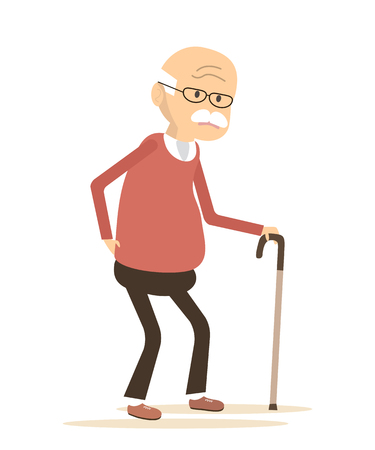 lumbago: Old man with a cane.  An elderly man suffering from back pain. Backache icon. Vector illustration flat design