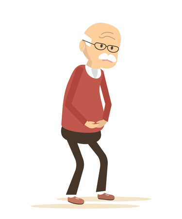 old man on a physical pressure: Old man with griping. Elderly man sick. Vector illustration flat design.