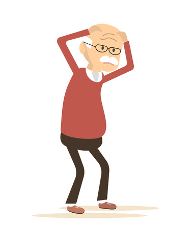 Old man sick. Senior disease. Elderly man with headache. Vector illustration flat design