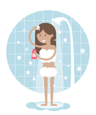 face wash: Young beautiful girl taking a shower. Daily routine activities of women. Vector illustration flat design