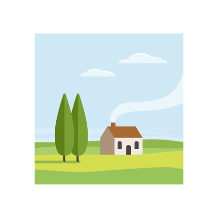 rural house: Rural landscape. Green valley with trees, clouds and house. Vector illustration flat design