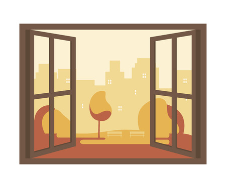 Vista città sfondo della finestra. autunno vista della finestra aperta. Illustrazione vettoriale design piatto Vettoriali