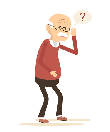 Deaf Old Man Trying to Hear