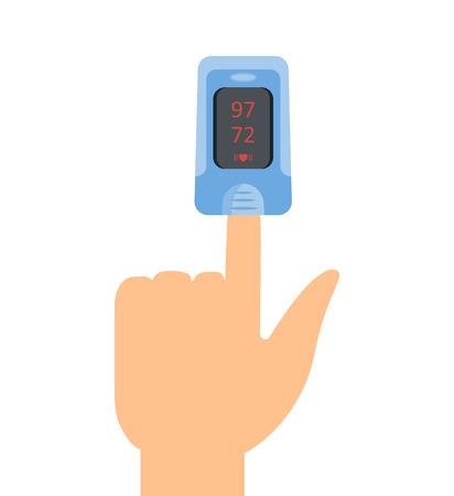 パルス酸素濃度計のアイコン。ベクトル illustartion フラットなデザイン  イラスト・ベクター素材