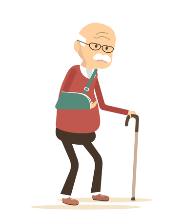 Old man with broken arm. Elderly man disease icon. Vector illustration flat design